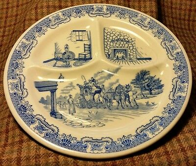 Vtg IROQUOIS China H-3 Syr NY Ye Olde Inn Blue/Wht Divid (3) Rest. Dinner Plate