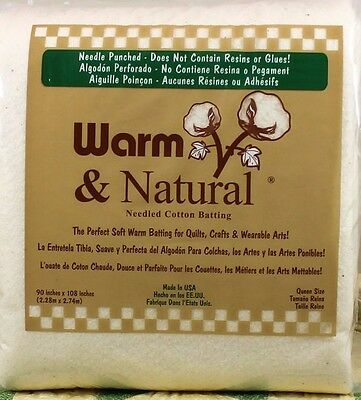 "SUPER KING SIZE Warm Company Warm and Natural Cotton Batting with 120"" x 124"""