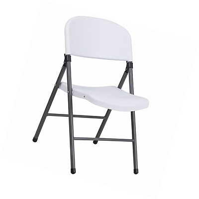 Flash Furniture DAD-YCD-50-WH-GG Plastic Folding Chair with Charcoal Frame, Gray