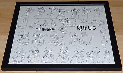 Disney The Rescuers 1977 Rufus Penny Framed Original Production Model Sheet