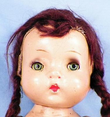 1937 Horsman Jo Jo Composition Doll 12 in Braided Mohair Wig Brown Eyes Vintage