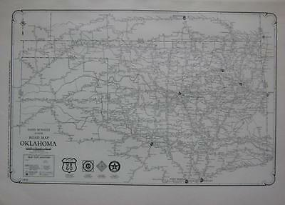 1927 Oklahoma Large Commercial Auto Road map* Paved, Improved, State Hwys., etc