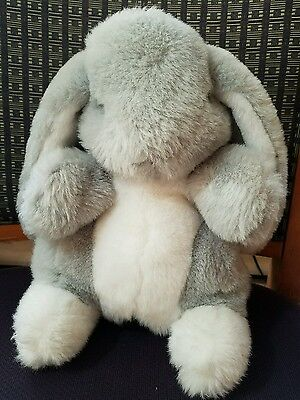 Dakin Bunny Rabbit Gray White Plush Puppet Full Body Cotton Tail Lop Ear 1988