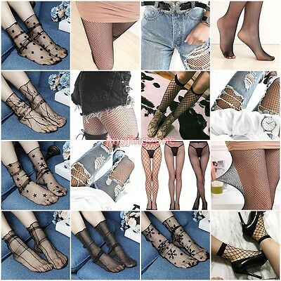 2017 Womens Ruffle Fishnet Ankle Knee High Socks Mesh Lace Short Socks Pantyhose
