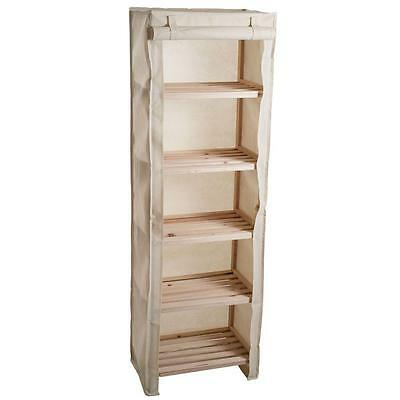 Lavish Home 5-Tier Wood Storage Shelving Rack with Removable Cover-83-13-5