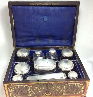 Antique 1850's French Sterling Silver Traveling Boule Necessaires Box
