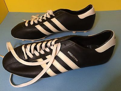 Vintage Adidas Argentina Soccer Cleats Black & White Yugoslavia US Men's Sz 11.5