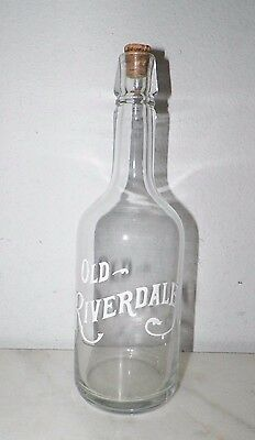 Vintage Old Riverdale Squeeze Bag Design Whiskey Bottle With Cork Empty
