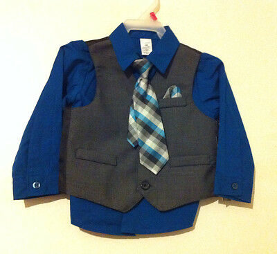NEW!!! Toddler Boys Dress Shirt Suit Vest and Tie Size 18 Months NWT!!!
