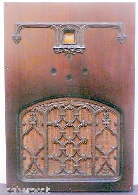 vIntage RCA RADIOLA 82 part:  ORNATE FRONT PANEL w GRILL, CLOTH, FACEPLATE