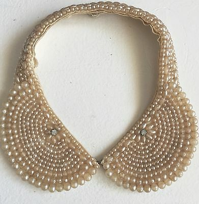 Vintage Beaded Pearl Rhinestone Scalloped Collar Necklace Japan