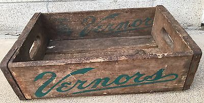 Vintage Vernors Ginger Ale Wood Soda Bottle Box Crate Storage Metal Edged