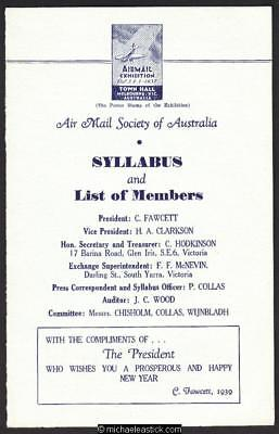 5 Oct 1937, Air Mail Exhibition, Melbourne, Syllabus and List of Members