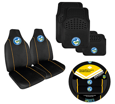 Set Of 3 Parramatta Eels Nrl Car Seat Covers + Steering Wheel Cover + Floor Mats