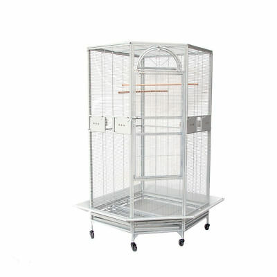Parrot Escape Jumbo Corner Bird Cage with Seed Skirt White Vein