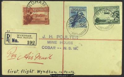 13 July 1930, Registered mail Wyndham to Cobar via first Wyndham-Derby flight