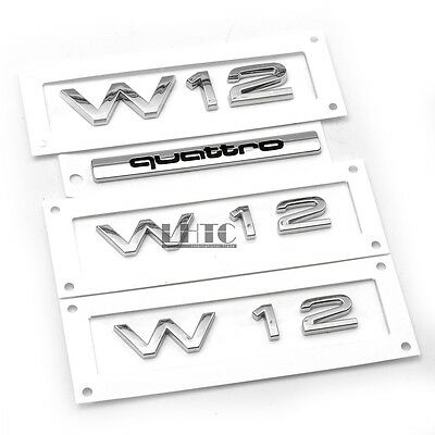 4Pcs W12 Quattro Body Side & Rear Badge Emblem OEM For AUDI A8 Quattro 6.0 6.3
