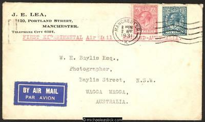 04 Apr 1931, Experimental Airmail England - Australia, Post marked Manchester