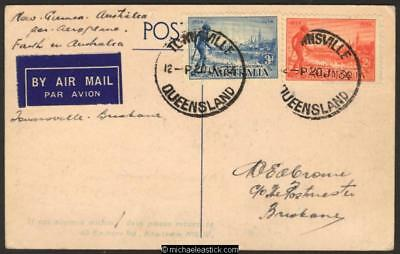 24 Jul 1934, Ulm card ex #348 flight, Australia - New Guinea - Australia flight