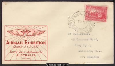 5 Oct 1937, Air Mail Exhibition, Melbourne, Red cover