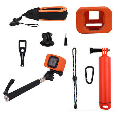 Floating Wrist Strap+Floaty Protective Case+Monopod For GoPro Hero 4 5 Session
