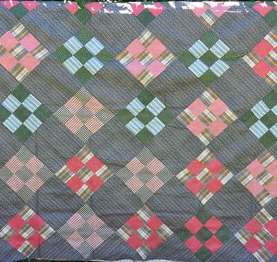 1880-1910 Masculine Nine Patch Block Antique Vintage Quilt Top – Crispy As New!