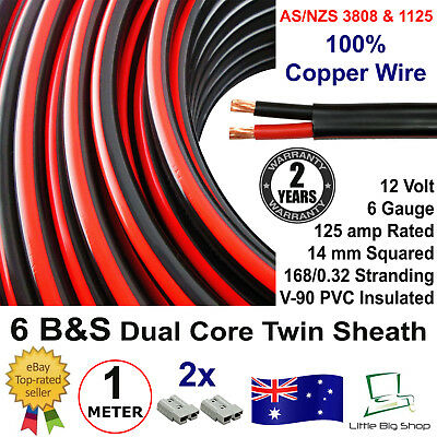 New 1m 6B&S DUAL BATTERY CABLE 6 B S Twin Core Auto 1 Metre B&S 6BS BS Wire 12V