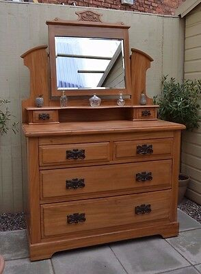 Lovely Antique Victorian Satinwood Dressing Table Chest of Drawers Bedroom Pine