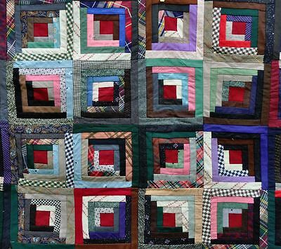 19thc WOOL SUNSHINE & SHADOWS LOG CABIN ANTIQUE VINTAGE QUILT TOP: UNFINISHED