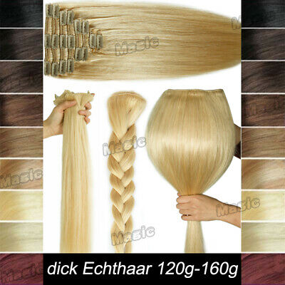dick dopplet Tresse Clip in Extensions 100% Remy Echthaar Thick Human Hair D115
