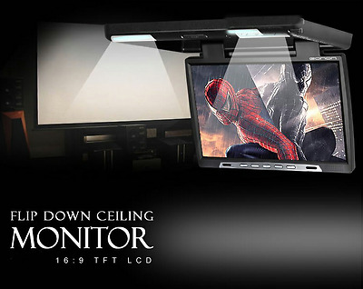 19'' HD Car Flip Down TFT LCD Monitor Roof Mount Player1680*1050+Dome LED Lights