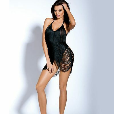 Abito Sexy Con Frange Lingerie Hot Mini Dress Donna Chicago Taglia Unica Nero