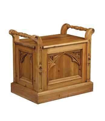 Gothic Style Solid Old Reclaimed Pine Storage Seat