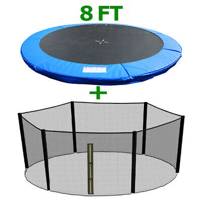 8FT Replacement Trampoline Spring Cover Padding Pad & Safety Net Bundle Blue