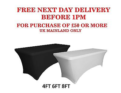Black White Rectangular Table Cover Spandex Lycra Stretch WEDDING PARTY BUFFET
