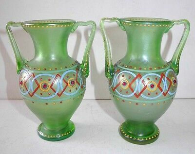 End 19Th Early 20Th Pair Of Green Crystal Vases With Luster Antique Frieze