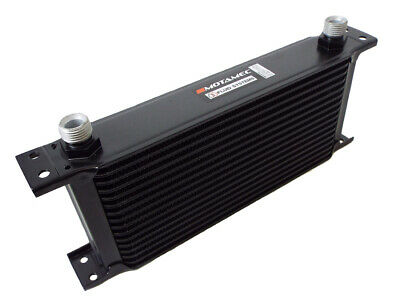 Motamec Oil Cooler 16 Row - 235mm Matrix - 1/2 BSP - Black Alloy