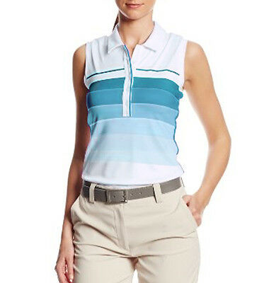 Adidas Puremotion Gradation 3 Stripe Ladies Sleeveless Golf Polo Shirt