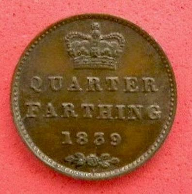 1839 - Victoria - Quarter Farthing 1/4 X 1/4 - UNC with some lustre - SN9108