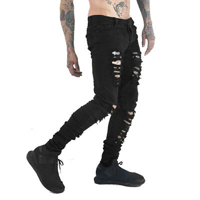 Men's Black Skinny Slim Fit Jeans Distressed Ripped Destroyed Holes Denim Pants