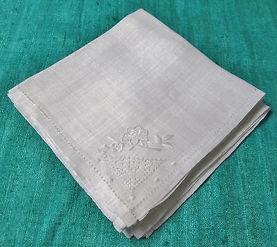 Antique 6 Linen Lawn Napkins Embroidery & Drawnwork Luncheon or Cocktails!