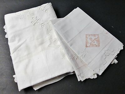 Antique Queen Linen Sheet & Pillow Case Set Embroidery & Cutwork Made in Italy