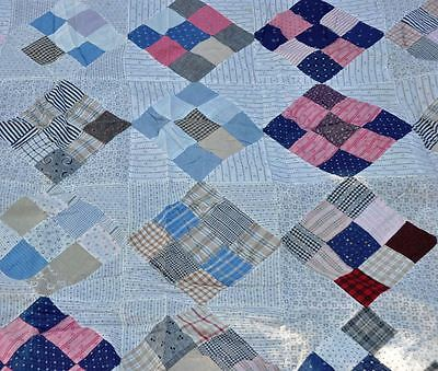 1900-1940 SIMPLE NINE PATCH ANTIQUE VINTAGE QUILT TOP – RESTORE or RECYCLE