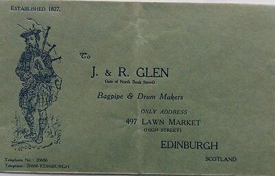 GREAT BRITAIN 1920s ILLUSTRATED ADVERTISING COVER FOR GLEN BAGPIPE MAKERS