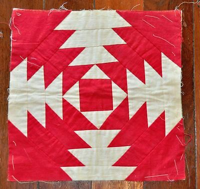 19thc - CHARMING PAIR OF PINEAPPLE LOG CABIN VINTAGE ANTIQUE QUILT BLOCKS – R&W