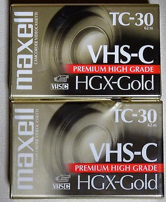 Lot of 2 VHS-C Maxell TC-30 HGX Gold Camcorder Videocassettes Blank Tapes