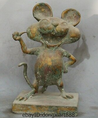 Old China Bronze Disney Lovely Cartoon Character Anime Mickey Mouse Mitch statue