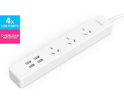 Orico 3 AC Outlets w/ 4 Smart USB Charging Ports Power Board - White