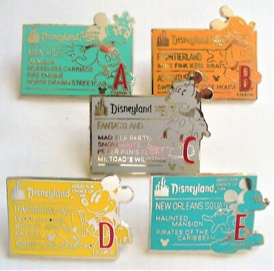 "Disney Park Trade Pins ""Tickets"" Set -  A, B, C, D, E - 5 Total Trading Pins"