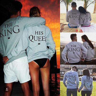 The King & His Queen T Shirt Gift Couple His and Her Sweatshirt Pullover Hoodie